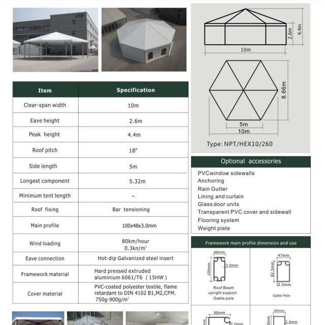 10m Span Hexagon Tent