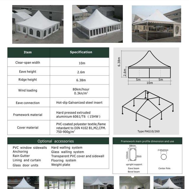 10m Span Pagoda tent