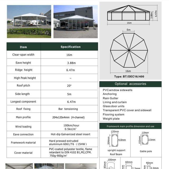 16m Span Decagonal Big Tent