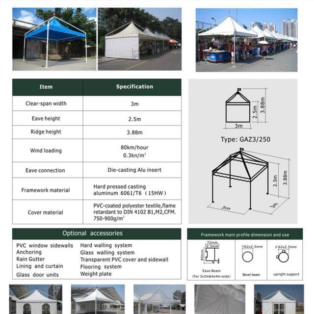 3m Span Gazebo Tent