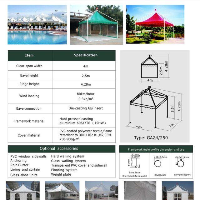 4m Span Gazebo Tent