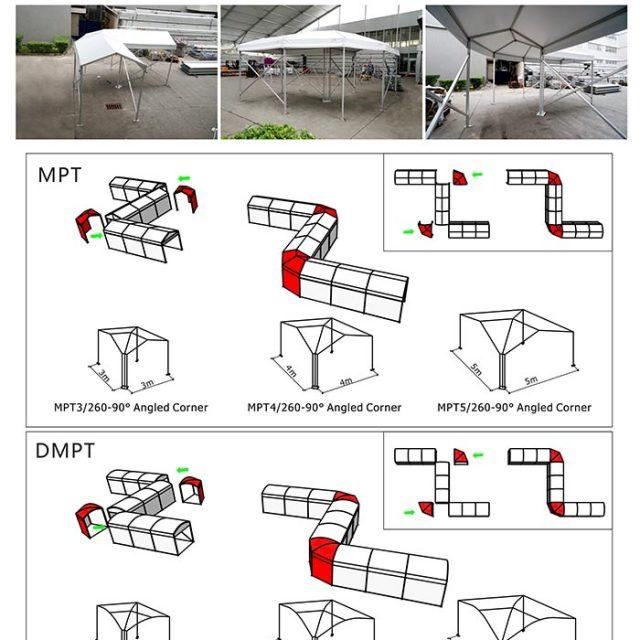 4m Span Small Walkway Corner Tent