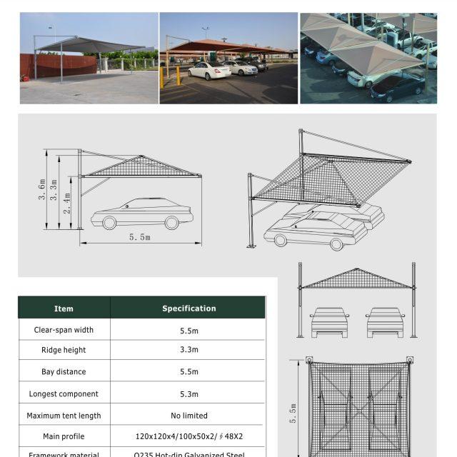 5.5m Span Carport Tent