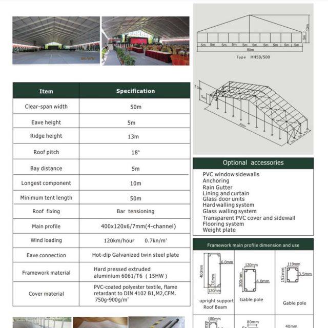 50m Span Huge Tent Hall