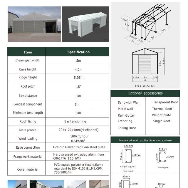 5m Span Warehouse Tents