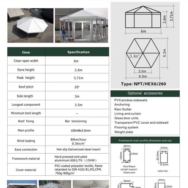 6m Span Hexagon Tent