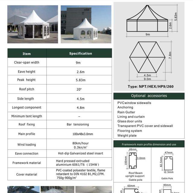 9m Span Polygon High Peak Tent