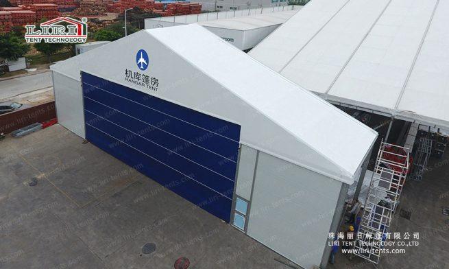 rolling door hangar tent