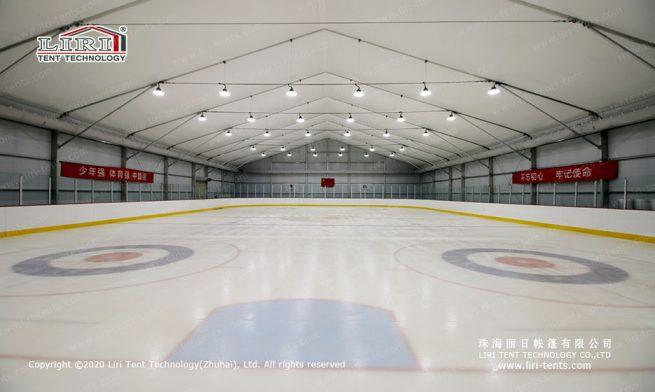 Ice hockey rink sports tent interior